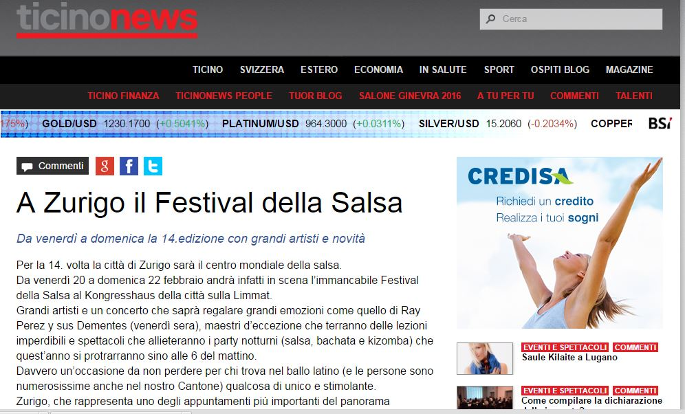 """La notizia su Ray Perez pubblicata da """"Ticino News""""."""